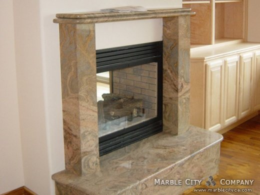Juparana Colombo Granite Fireplace San Francisco California Application Fireplace