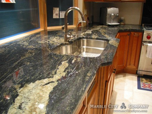 Blue Brazil Granite Kitchen Countertops Expert Installation