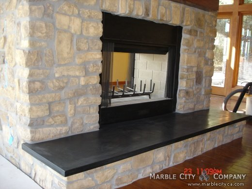 Absolute Black Honed Granite Fireplace Pictures California