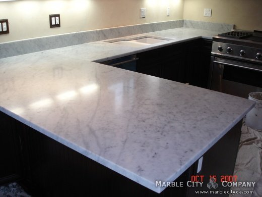 Bianco Carrara Honed   Marble Countertops San Francisco