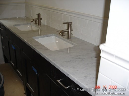 Honed Countertop Materials : Bianco Carrara Honed Marble Vanity at Marble City Company Type ...