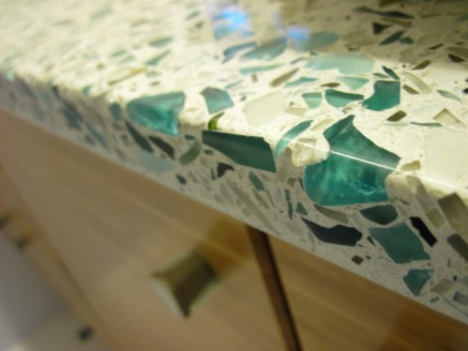 Floating Blue Vetrazzo Counter At Marble City Ca Type