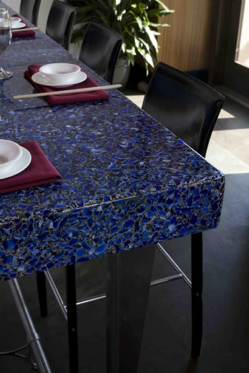 Cobalt Skyy with Patina - Vetrazzo Countertops - Bay Area