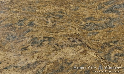 Harricane Blue Gold - granite countertops bay area, California. Close up view — Close Up View